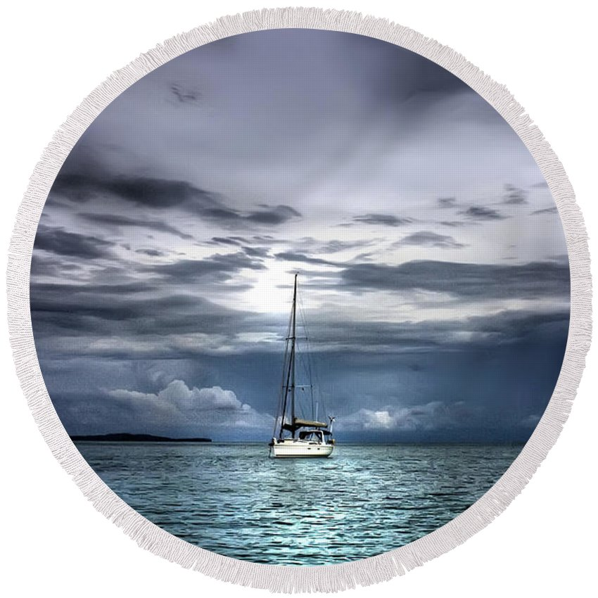 Seascape Round Beach Towel featuring the photograph Storm Approaching by Dolly Sanchez