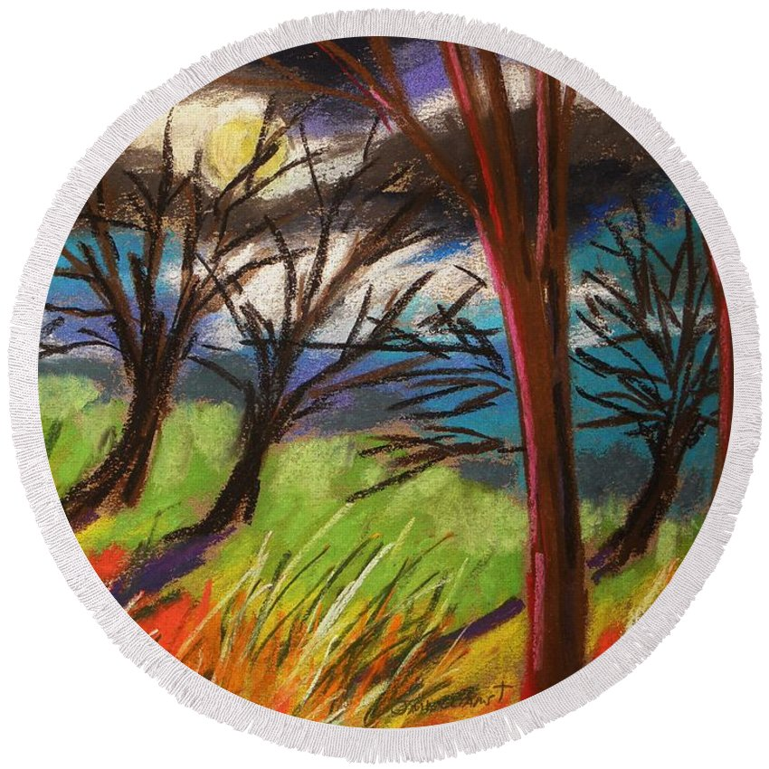 Pastes Round Beach Towel featuring the painting Storm Approaching Fast by John Williams