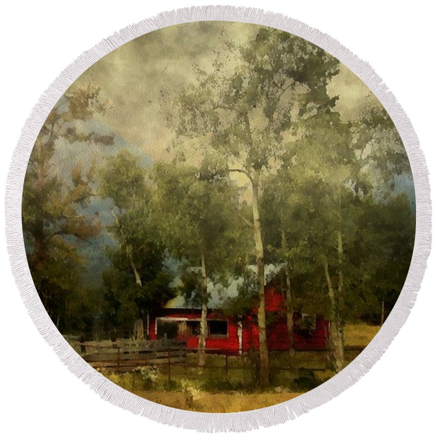 Landscape Round Beach Towel featuring the painting Storm Approaching White Birch Cottage by RC DeWinter