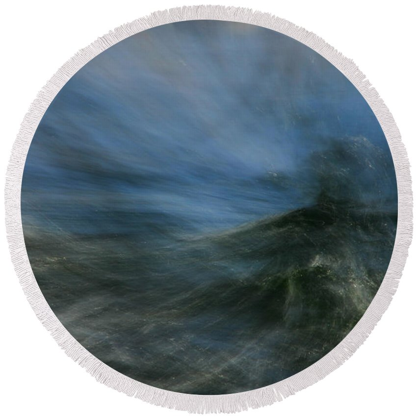 Water Round Beach Towel featuring the photograph Storm At Sea by Donna Blackhall