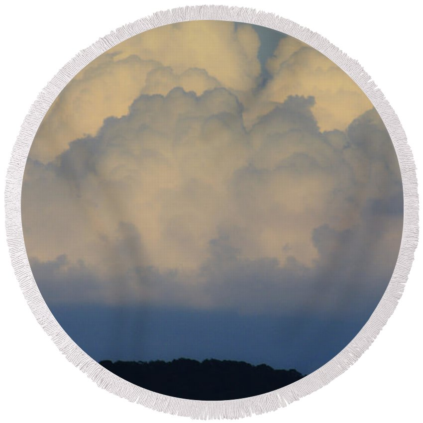 Clouds Round Beach Towel featuring the photograph Storm At Sunset Bluestone State Park West Virginia by Teresa Mucha