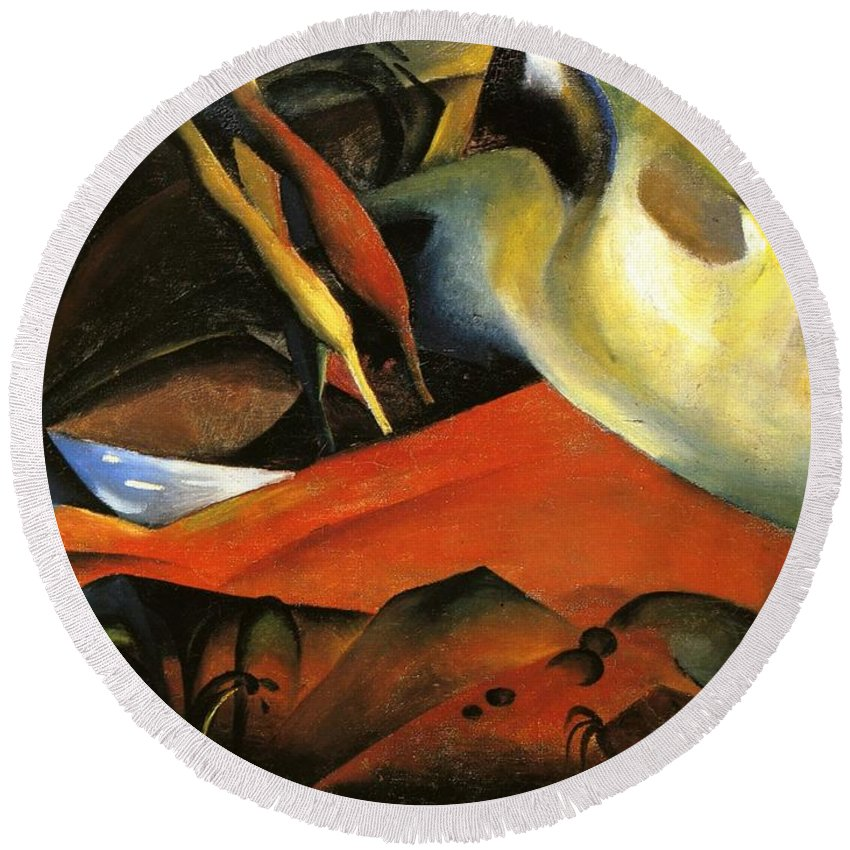 August Macke Round Beach Towel featuring the painting Storm by August Macke