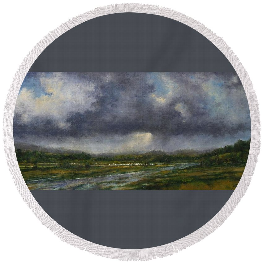 Painting Round Beach Towel featuring the painting Storm Brewing Over The Refuge by Jim Gola