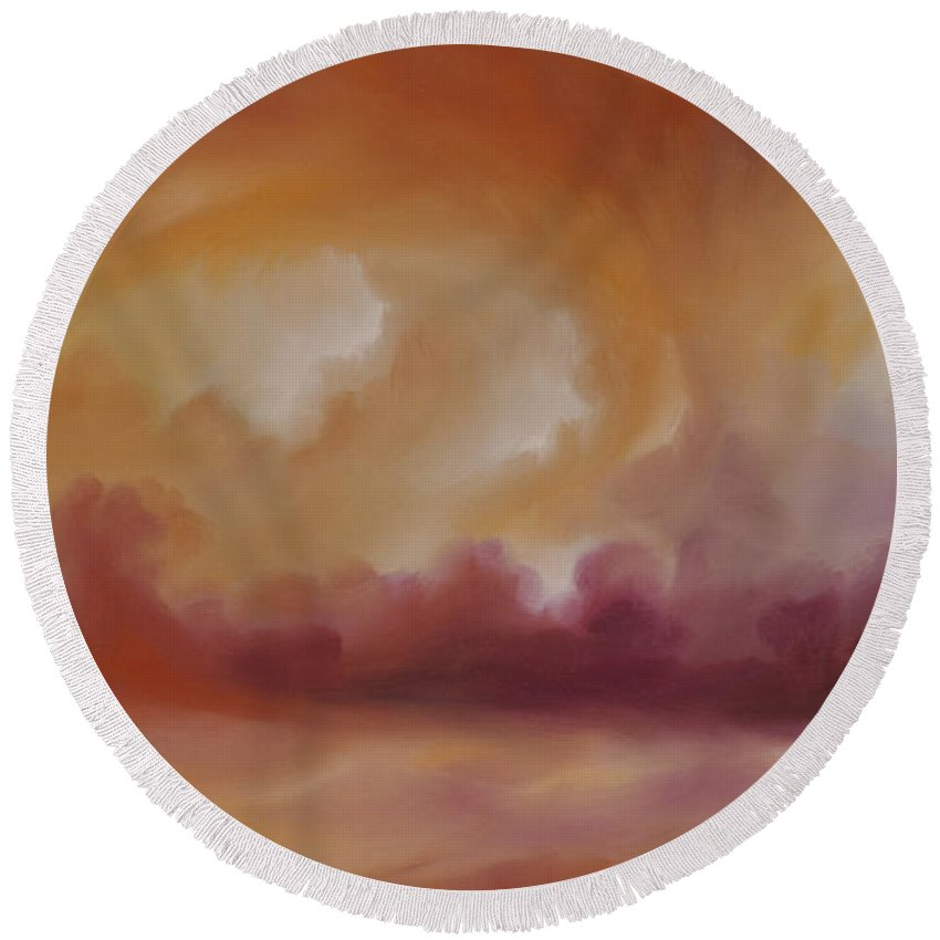 Tempest Round Beach Towel featuring the painting Storm Clouds 2 by James Christopher Hill