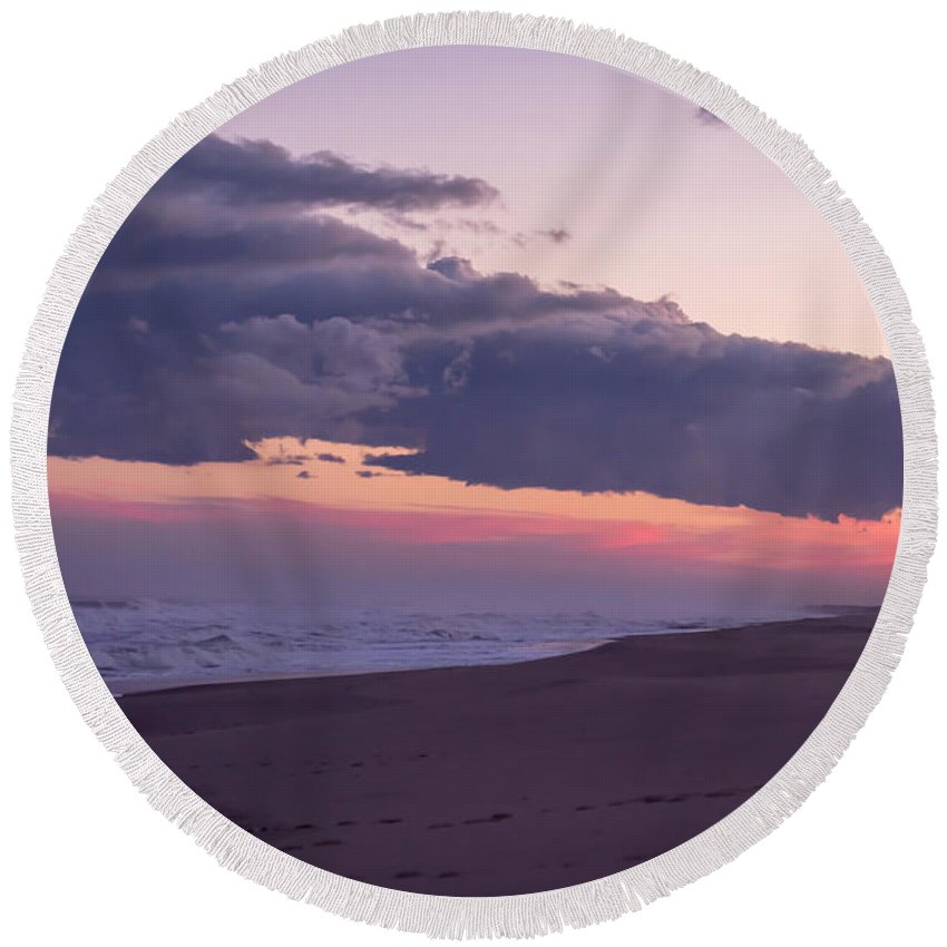 Terry D Photography Round Beach Towel featuring the photograph Storm Clouds At Dusk Seaside Nj by Terry DeLuco