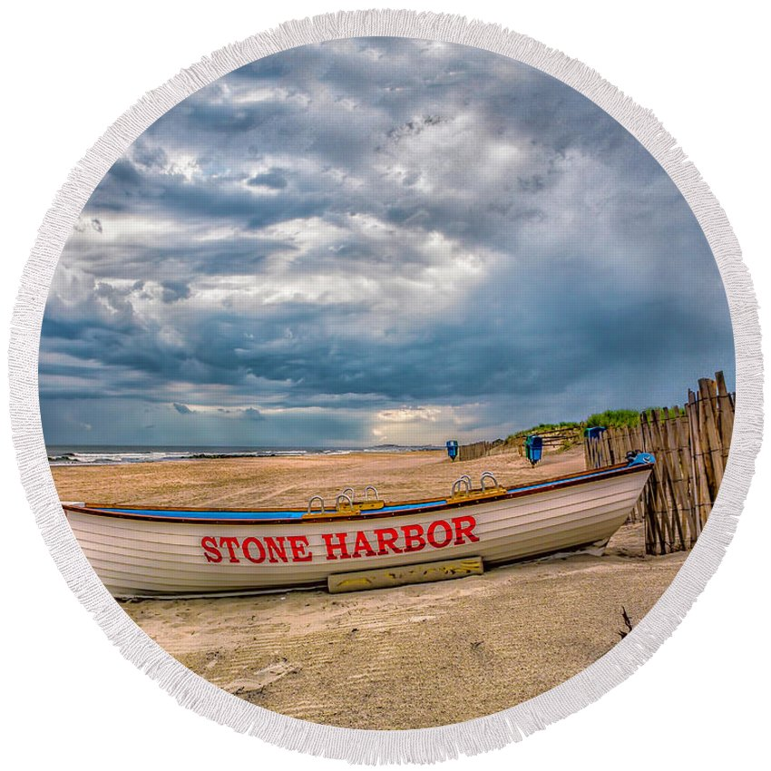Atantic Coast Round Beach Towel featuring the photograph Storm Clouds In Stone Harbor by Nick Zelinsky