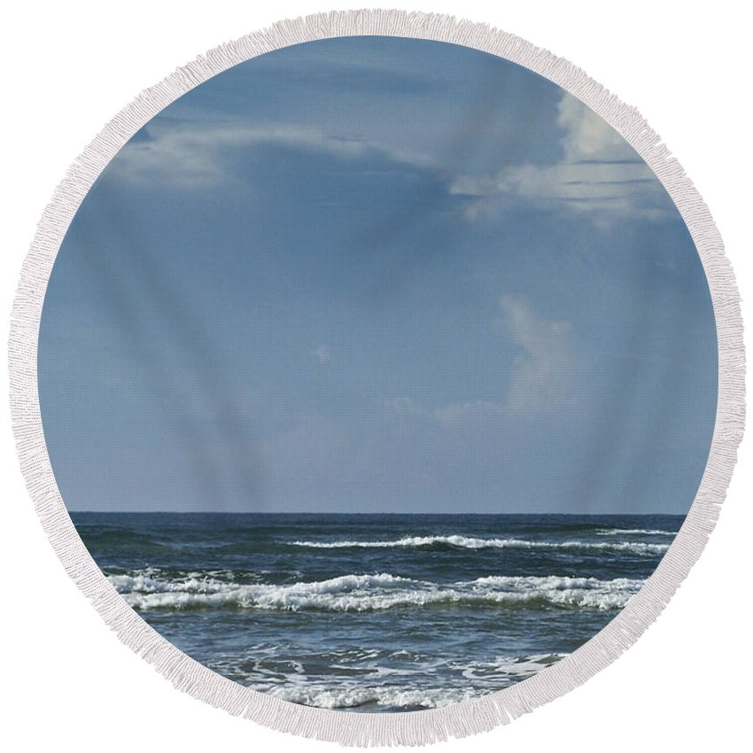 Ocean Round Beach Towel featuring the photograph Storm Clouds On The Horizon Ocean Isle North Carolina by Teresa Mucha