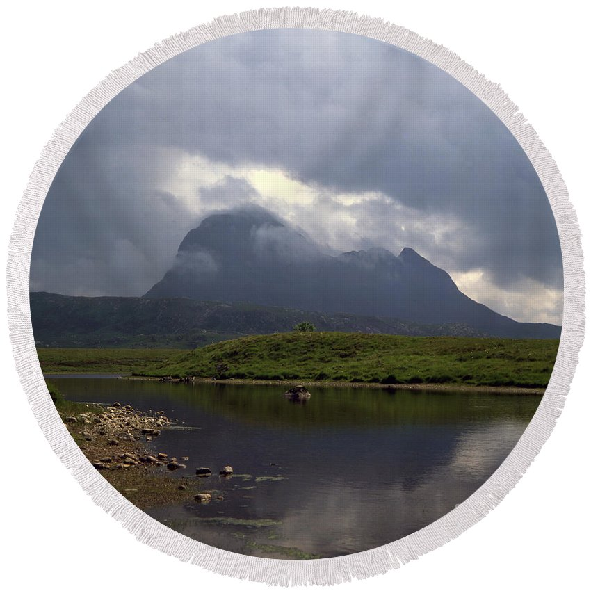Suilven [ross Cromarty] Coigach [fion Loch] [inverpolly National Nature Reserve] Scotland Mountain Mountains Scottish Western Highlands Strom Storms Cloud Clouds Loch Lochs British Romantic Dramatic Scenery Landscape Landscapes Sutherland [national Nature Reserves] Scenic Stunning Summer Cloud Clouds Geology Geological Footpath Hiking Mountain Mountains Photos Photo Photograph Photographs Photography Round Beach Towel featuring the photograph Storm Clouds Passing Across Suilven And Fion Loch Near Ullapool Ross And Cromarty Scotland by Michael Walters