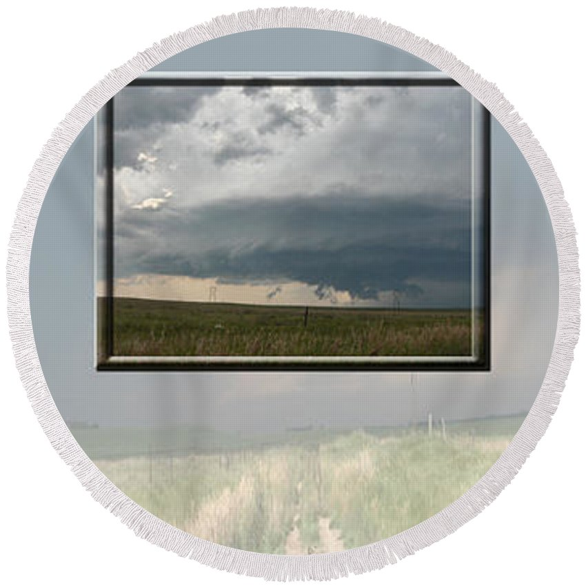 Tornado Strom Weather Rain Thunder Clouds Wind Round Beach Towel featuring the photograph Storm Collection by Andrea Lawrence