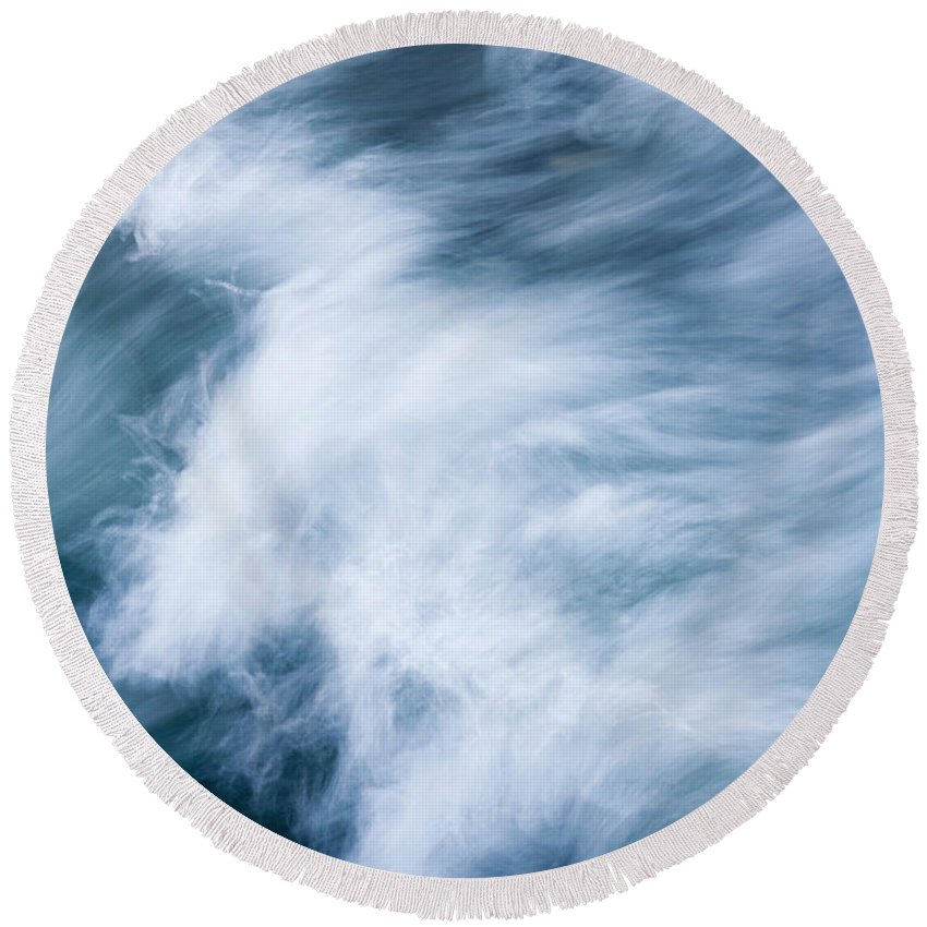Wave Round Beach Towel featuring the photograph Storm Driven by Mike Dawson