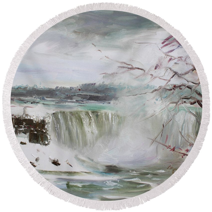 Landscape Round Beach Towel featuring the painting Storm In Niagara Falls by Ylli Haruni