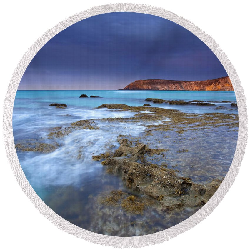 Dawn Round Beach Towel featuring the photograph Storm Light by Mike Dawson