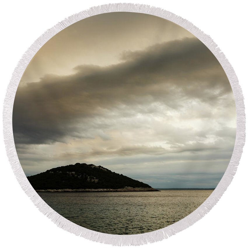Croatia Round Beach Towel featuring the photograph Storm Moving In Over Veli Osir Island In The Morning by Ian Middleton