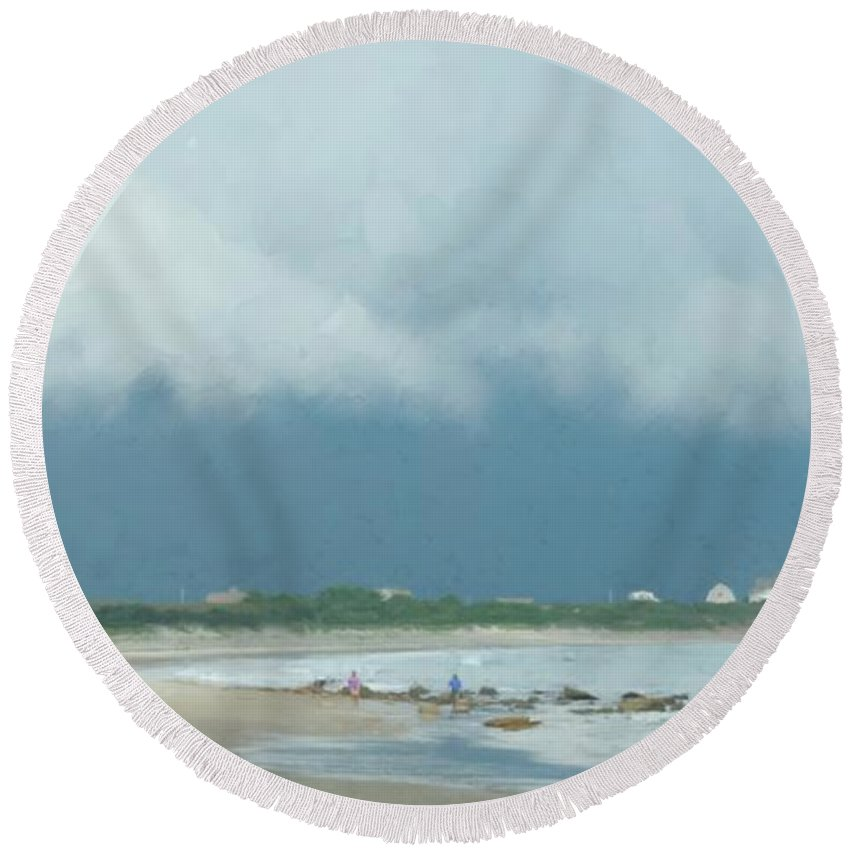 Seascape Round Beach Towel featuring the painting Storm Over Goosewing by Bill McEntee