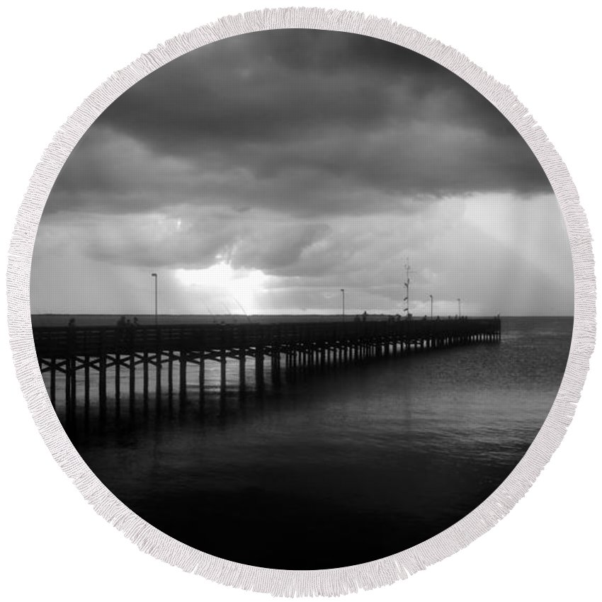 Anclote Keys Round Beach Towel featuring the photograph Storm Over The Anclote by David Lee Thompson