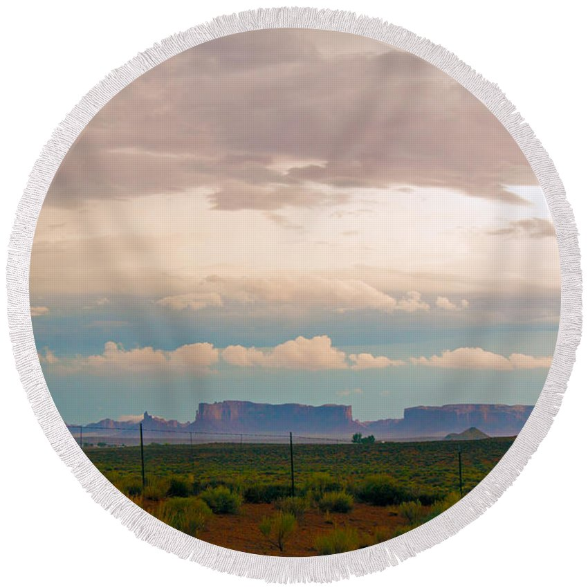 Utah Round Beach Towel featuring the photograph Storm Pass by Robert Popa