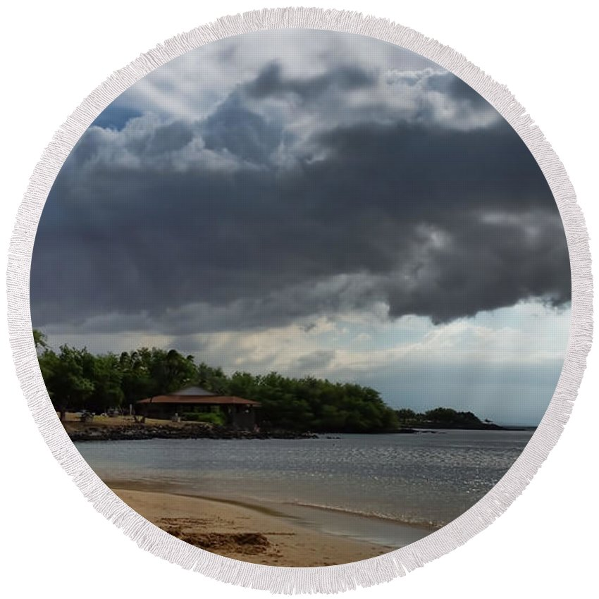 Pamela Walton Round Beach Towel featuring the photograph Storm Rolling In by Pamela Walton