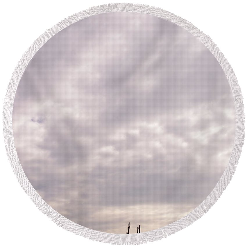 Clouds Round Beach Towel featuring the photograph Storm Shack by Scott Sawyer