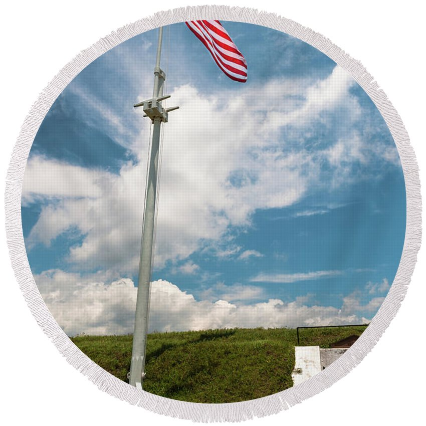 Old Glory Round Beach Towel featuring the photograph Storm The Hill by Dale Powell