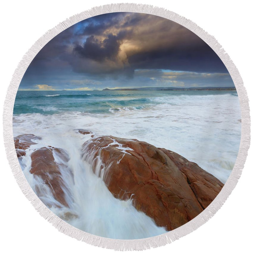 Knight's Beach Round Beach Towel featuring the photograph Storm Tides by Mike Dawson