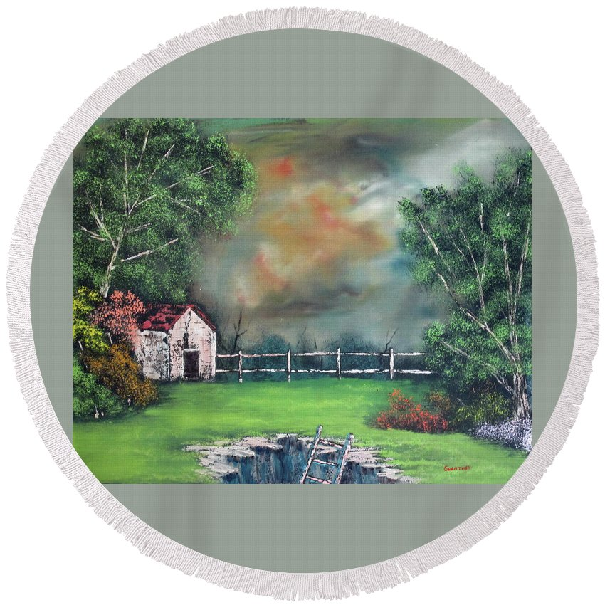 Landscape Round Beach Towel featuring the painting Stormfront by Larry Guenther