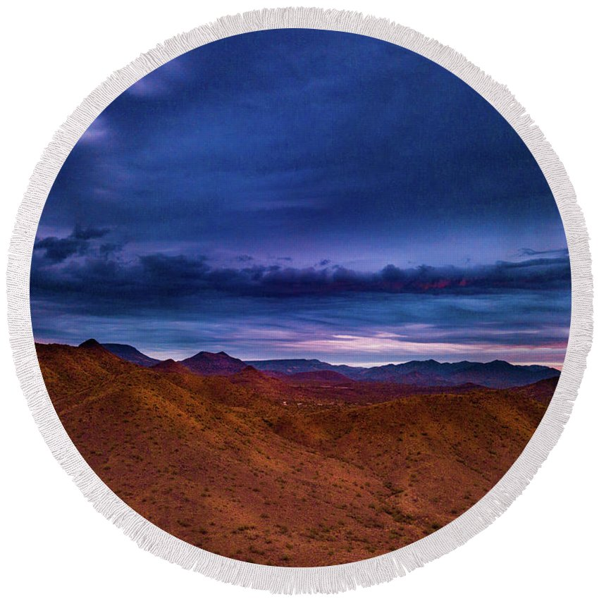 Drone Photography Round Beach Towel featuring the photograph Stormline Above Mountains by David Stevens