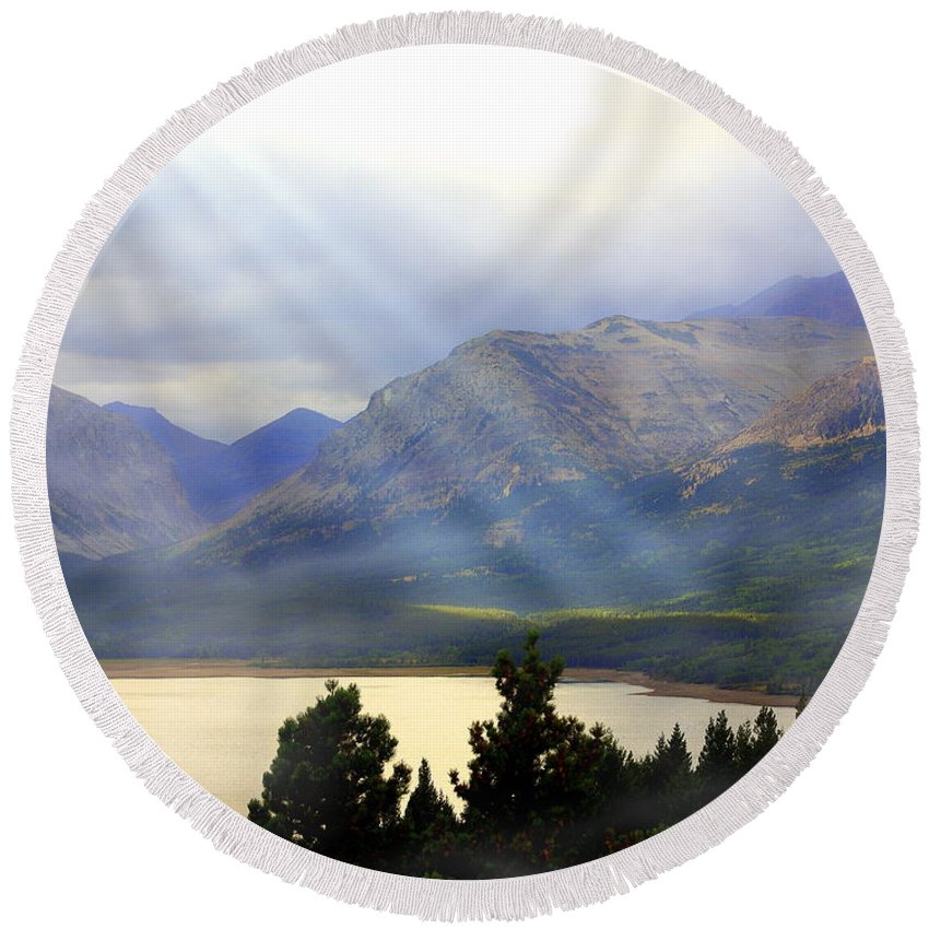 Glacier National Park Round Beach Towel featuring the photograph Storms A Coming-lower Two Medicine Lake by Marty Koch