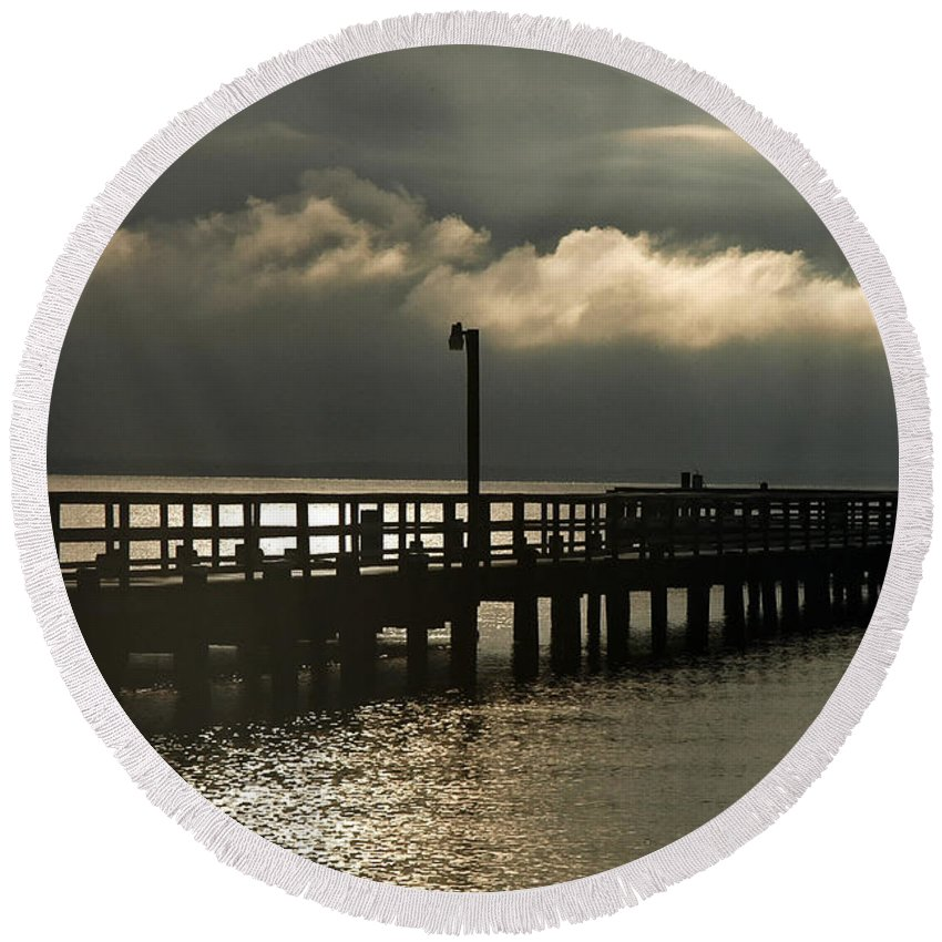 Clay Round Beach Towel featuring the photograph Storms Brewin' by Clayton Bruster