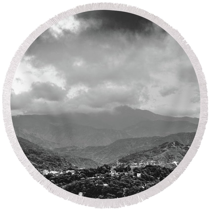 Black And White Round Beach Towel featuring the photograph Storms In Contrast by Donald Carr