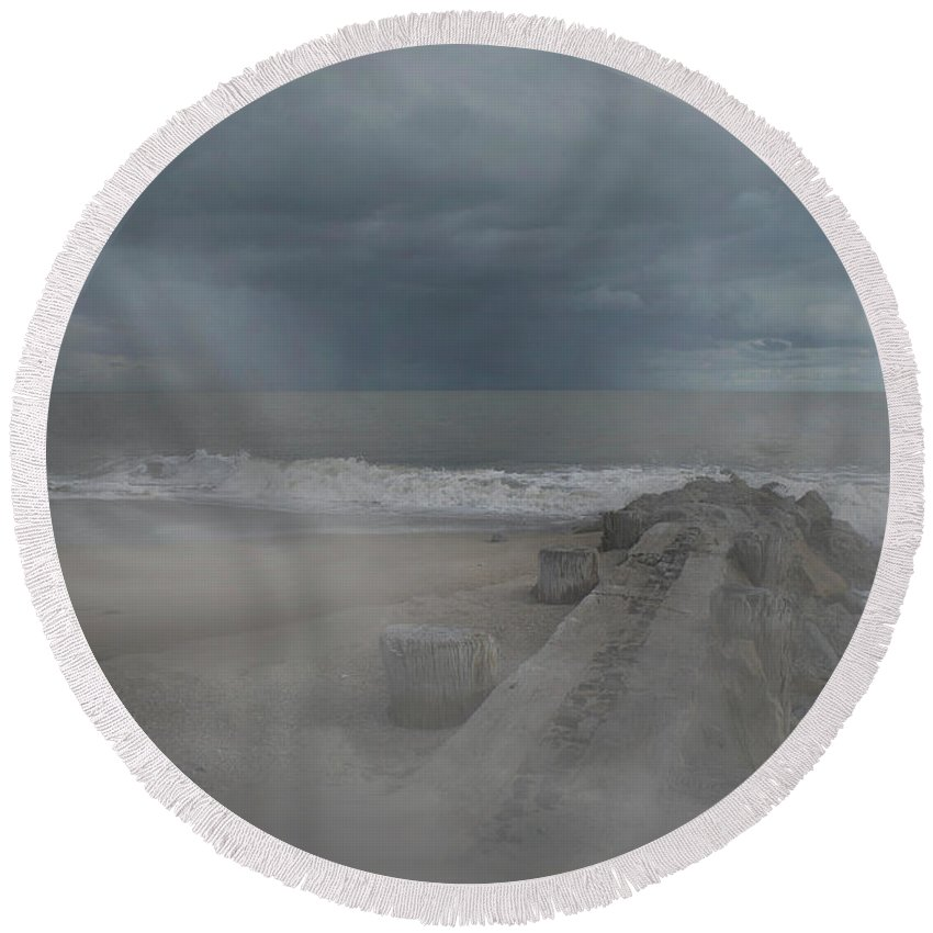 Scenic Tours Round Beach Towel featuring the photograph Stormy Beach by Skip Willits