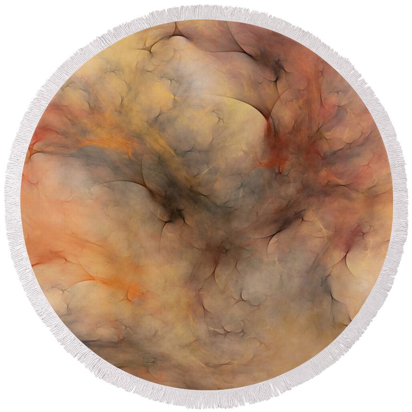 Abstract Round Beach Towel featuring the digital art Stormy by David Lane