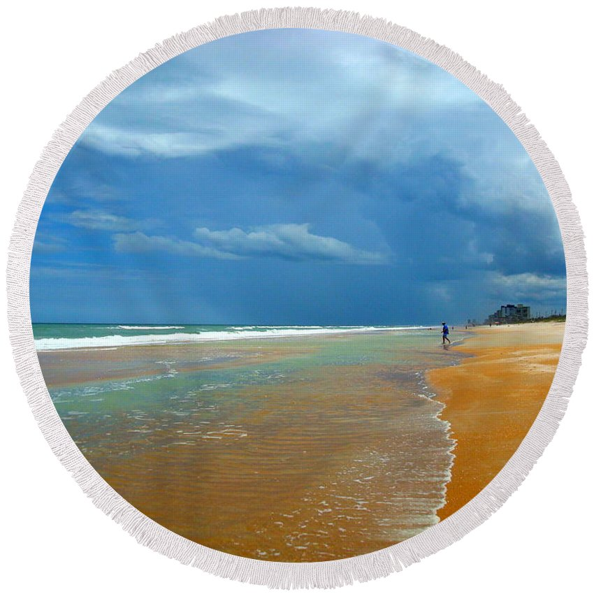 Beach Round Beach Towel featuring the photograph Stormy Day Ormond by Julie Pappas