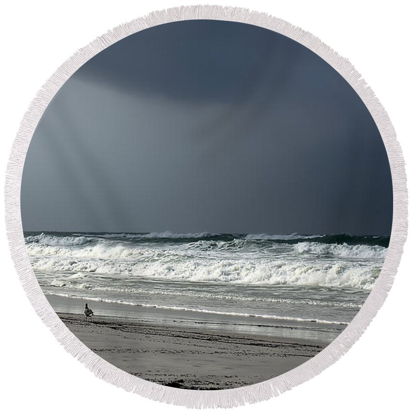 Coast Round Beach Towel featuring the photograph Stormy by Debra Forand