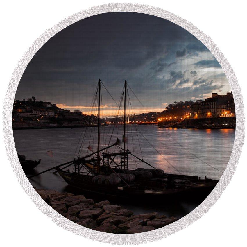 Porto Round Beach Towel featuring the photograph Stormy Evening Sky Above Porto And Gaia by Artur Bogacki