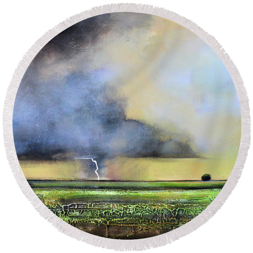 Storm Round Beach Towel featuring the painting Stormy Field by Toni Grote