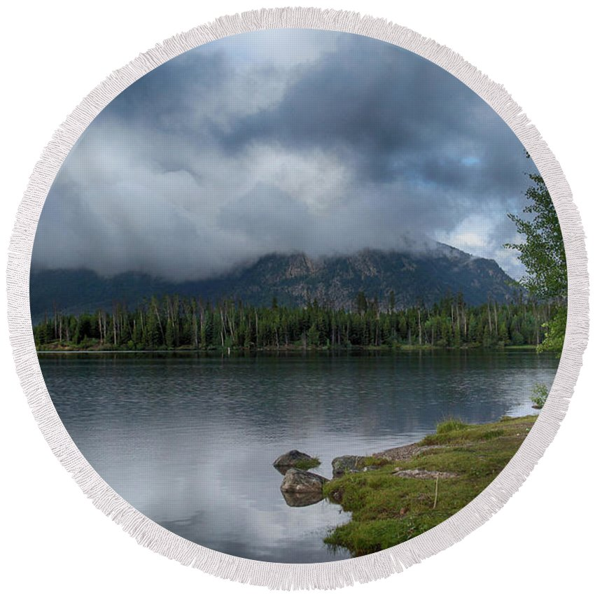 Lake Round Beach Towel featuring the photograph Stormy Morning At Dillon by Marie Leslie