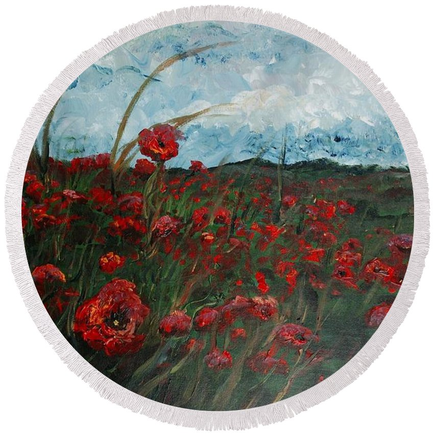 Poppies Round Beach Towel featuring the painting Stormy Poppies by Nadine Rippelmeyer