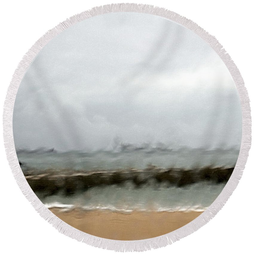Storm Round Beach Towel featuring the photograph Stormy Seas by Vladi Alon