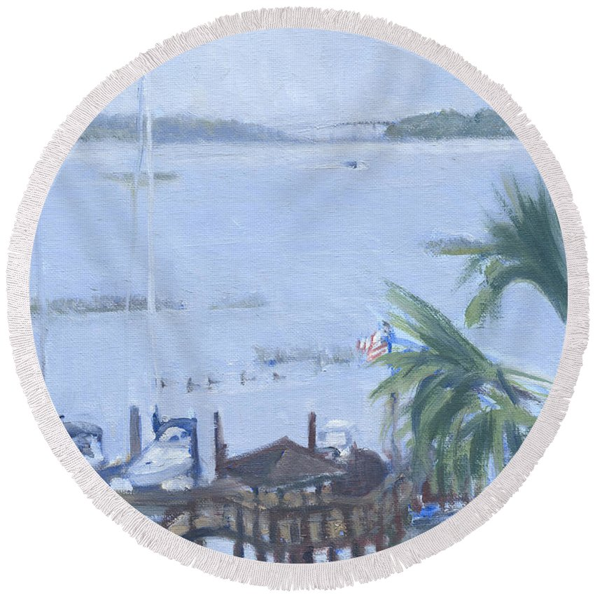 Skull Creek Round Beach Towel featuring the painting Stormy Skull Creek by Candace Lovely