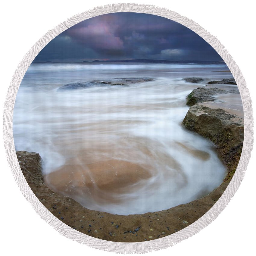 Sunrise Round Beach Towel featuring the photograph Stormy Sunrise by Mike Dawson