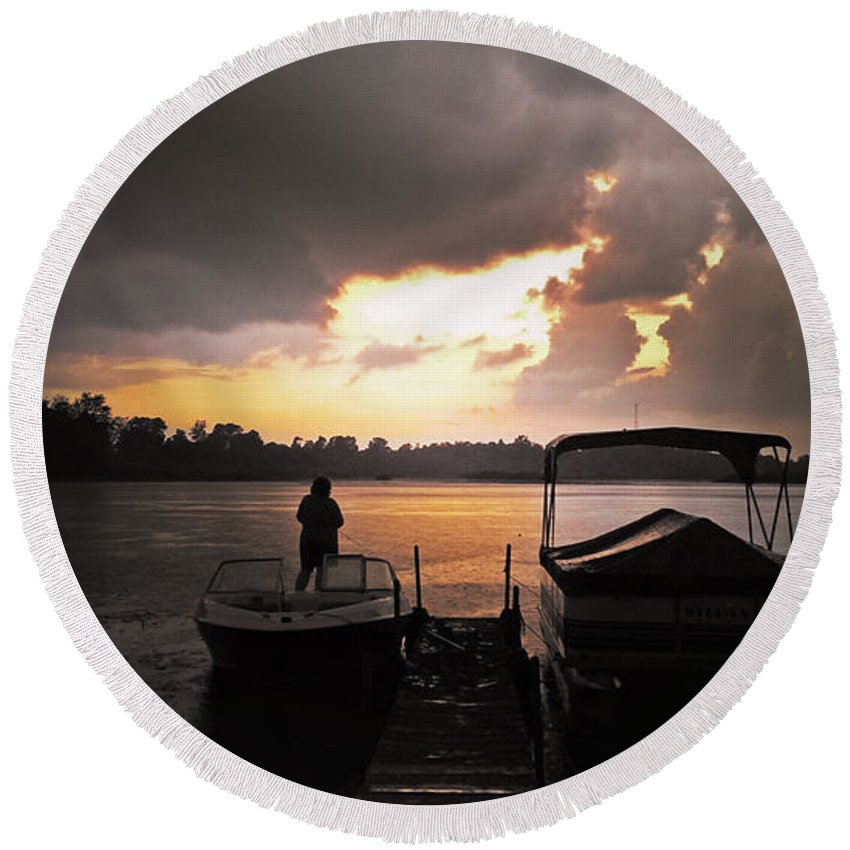 Storm Round Beach Towel featuring the photograph Stormy Sunset by Graesen Arnoff