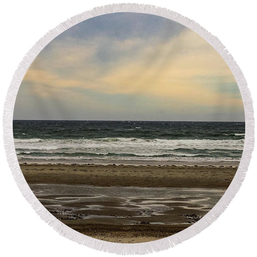 Stormy Round Beach Towel featuring the photograph Stormy View Of Nantsaket Beach by Mike Poland