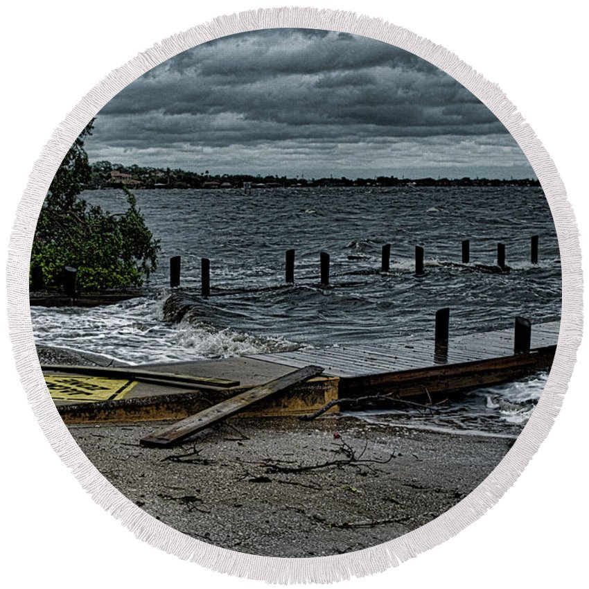 Florida Round Beach Towel featuring the photograph Stormy Waters by Clarence Ratliff
