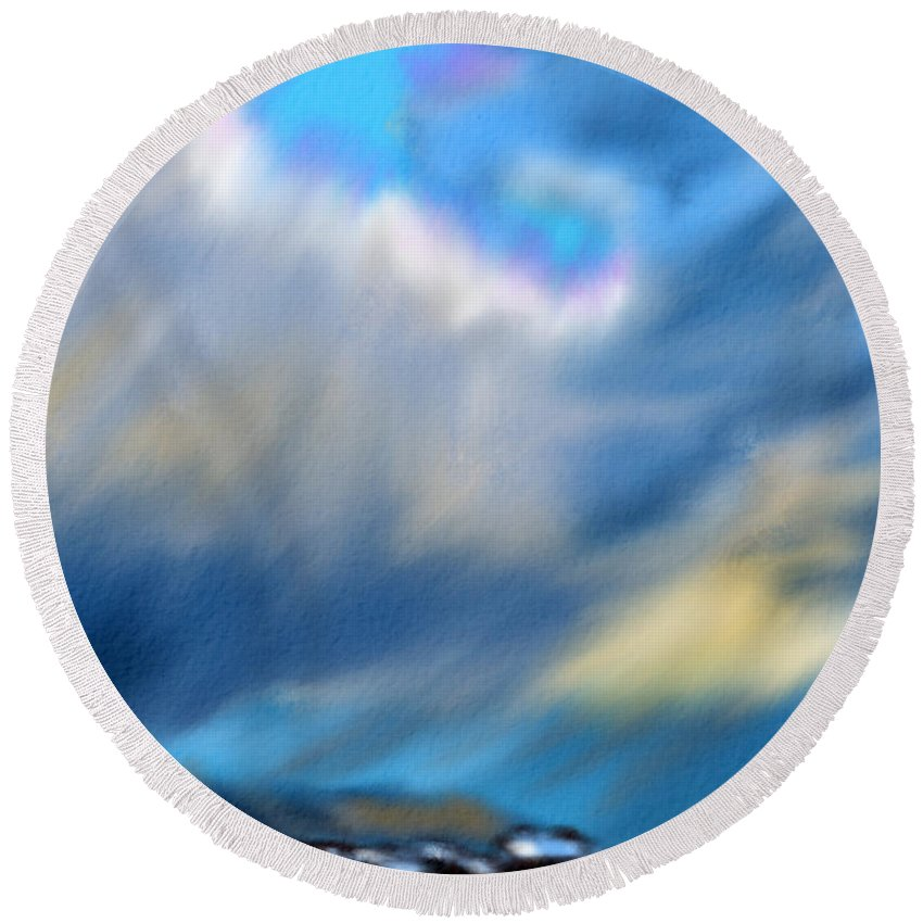 Sky Round Beach Towel featuring the digital art Stormy Winter Sky by Michael Kallstrom