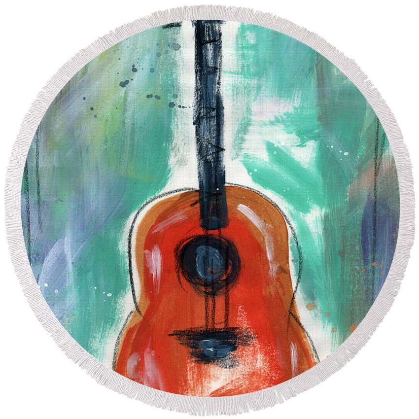 Guitar Round Beach Towel featuring the painting Storyteller's Guitar by Linda Woods