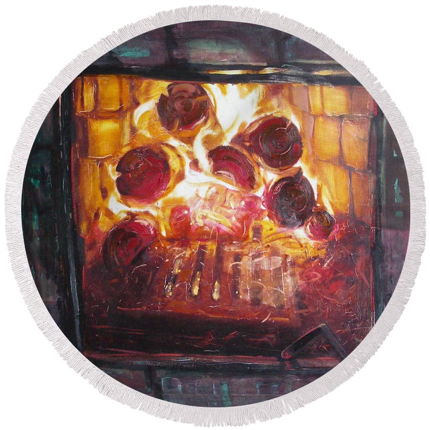 Oil Round Beach Towel featuring the painting Stove by Sergey Ignatenko