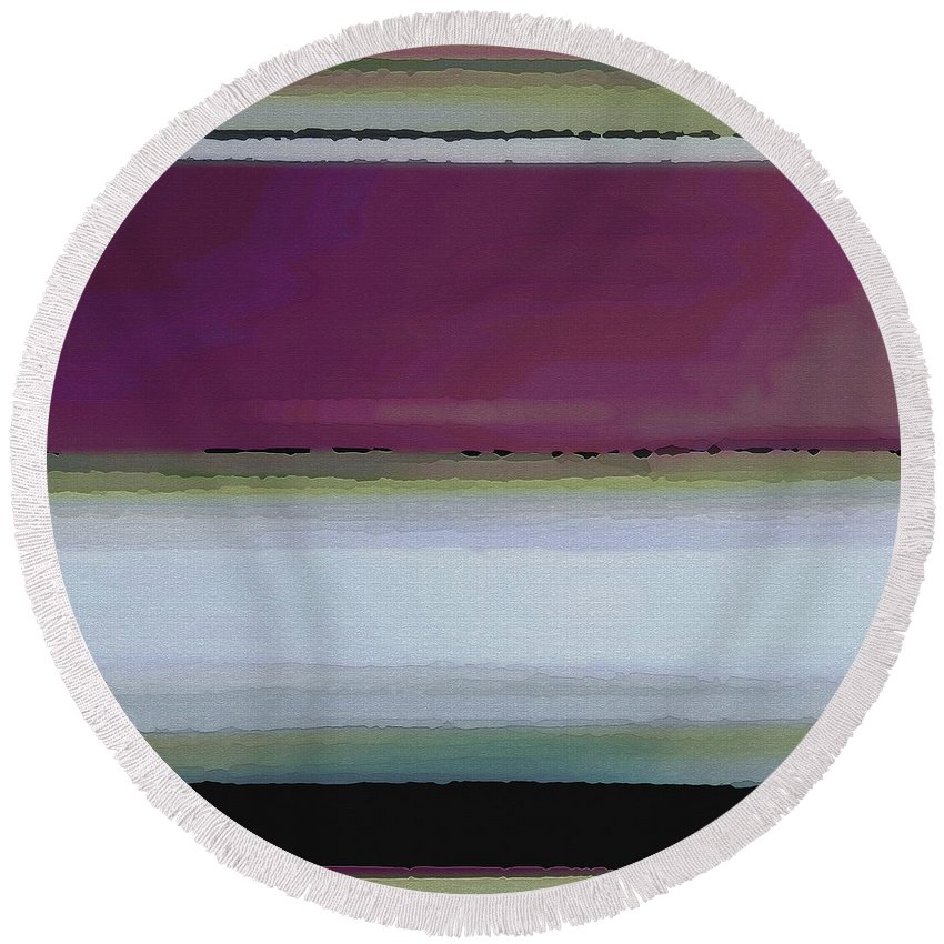 Abstract Round Beach Towel featuring the digital art Straight Across by Ruth Palmer