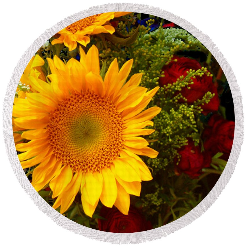 Sunflower Round Beach Towel featuring the photograph Straight No Chaser by RC DeWinter