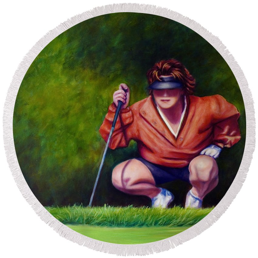 Golfer Round Beach Towel featuring the painting Straightshot by Shannon Grissom