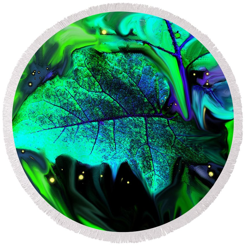 Abstract Round Beach Towel featuring the digital art Strange Green World by Ian MacDonald